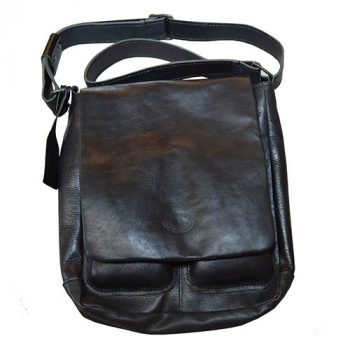 Handbag, Henk Berg, Solid Leather, Medium, 25x28cm, Black