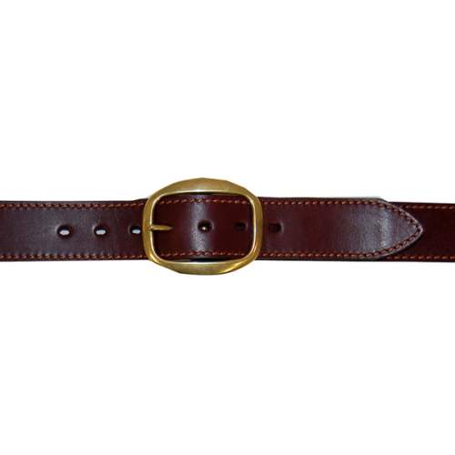 "Dress Belt, 1 1/2"" (38mm) Brown Edge-Sewn Leather, with Brass Swage Buckle"