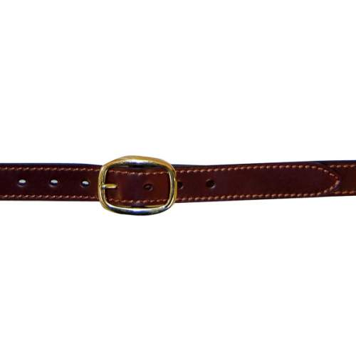 "Dress Belt, 1"" (25mm) Brown Edge-Sewn Leather, with Brass Swage Buckle"