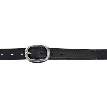 """Dress Belt, 1"""" (25mm) Black Edge-Sewn Leather, with SS Swage Buckle"""