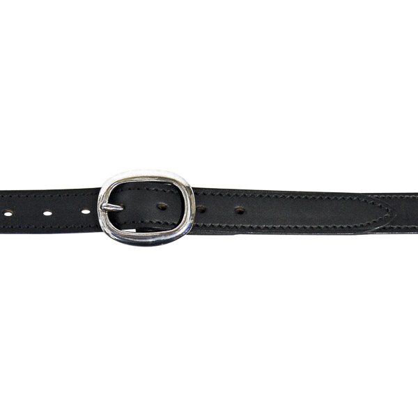"Dress Belt, 1"" (25mm) Black Edge-Sewn Leather, with SS Swage Buckle"