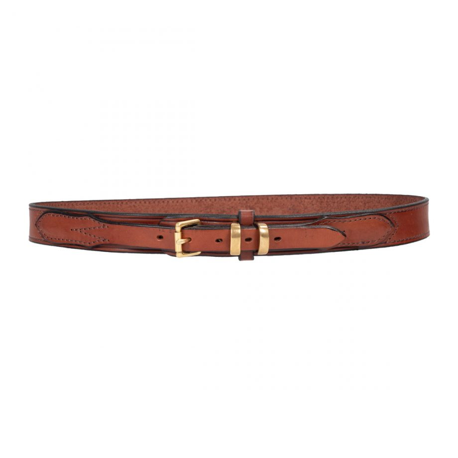 """Ranger Belt, 1 1/4"""" (32mm) Brown Edge Sewn Leather, with 3/4"""" (19mm) Strap and Buckle, with Brass Roller Buckle 1"""