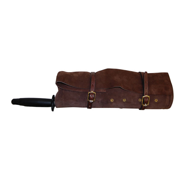 Roll Pouch, soft leather, pictured with 5 Butchers Knives and Steel - rolled up