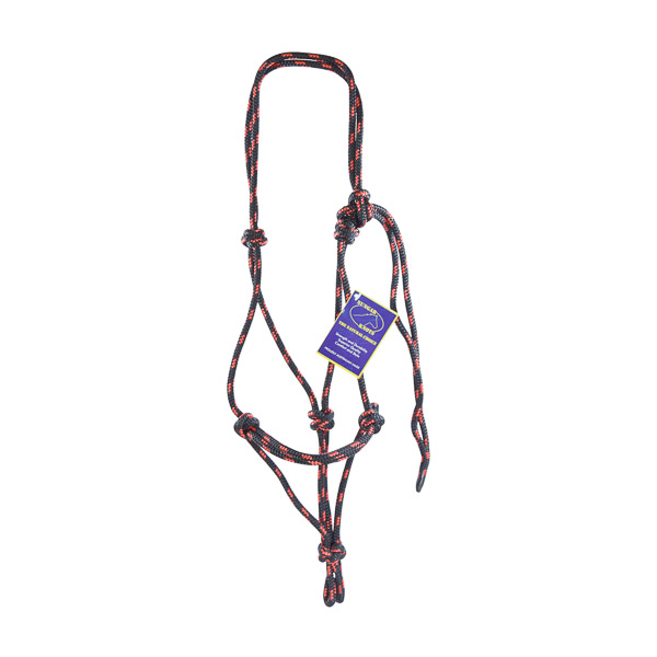 Halter, Headstall, Yachting Rope, 8mm - Black and Red