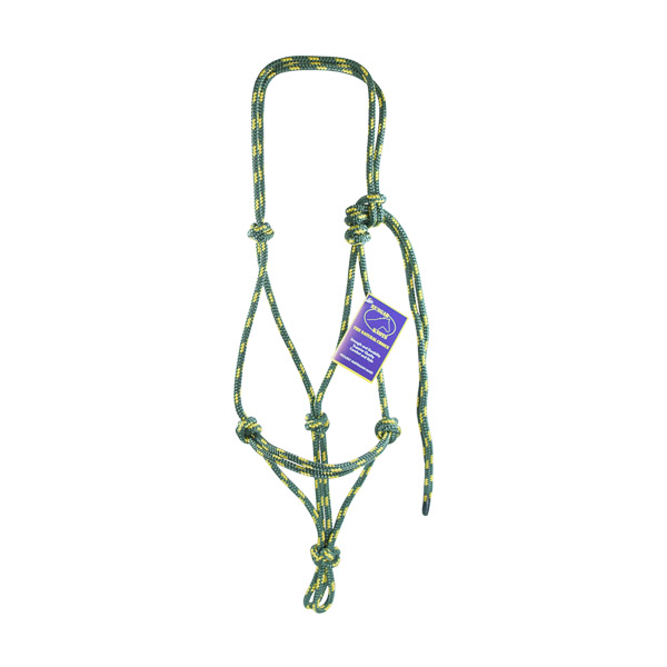 Halter, Headstall, Yachting Rope, 8mm - Green and Yellow