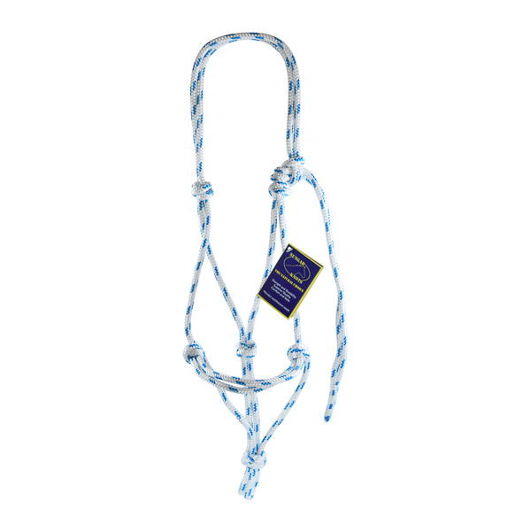 Halter, Headstall, Yachting Rope, 8mm - White and Blue
