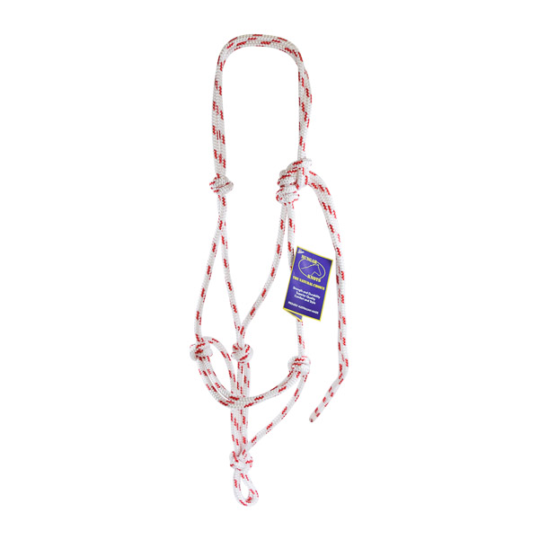 Halter, Headstall, Yachting Rope, 8mm - White and Red