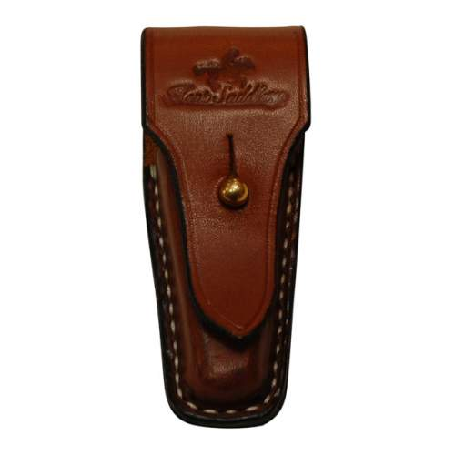 Pouch, Solid Leather, for Pocket Knife, Vertical with Brass Post