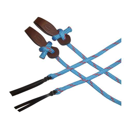 Yachting Rope Reins, with Leather Slobber Straps, 14mm x 2.5m (8')