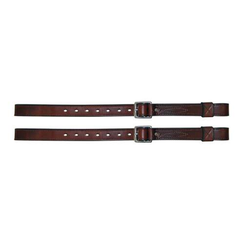 "Stirrup Straps, Solid Leather, Reinforced, 1 1/4"" with keeps"