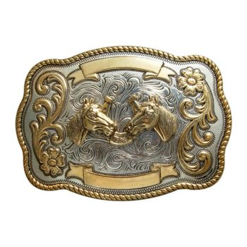 Trophy Buckle, 12cm x 9cm, Horses Heads