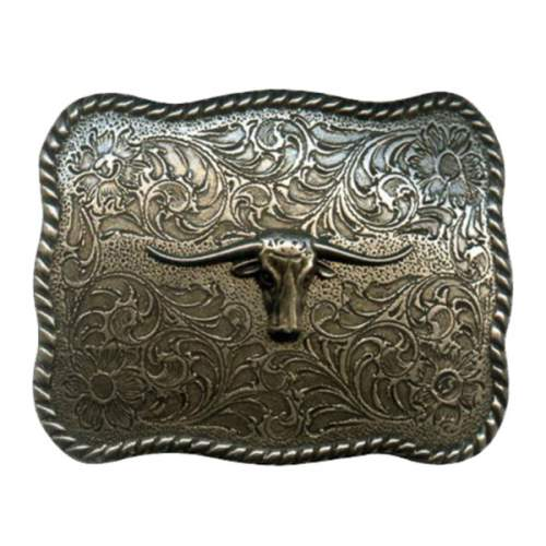 Trophy Buckle, 9cm x 7cm, Long Horns