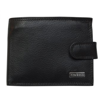 Wallet, Solid Leather, Hide and Chic, Black with Clip
