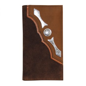Wallet, Solid Leather, Tall Style, Silver Conchos, Two Tone