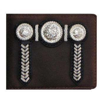 Wallet, Solid Leather, Short Style, Bi-fold, Silver Conchos and Zip, Brown