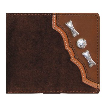 Wallet, Solid Leather, Short Style, Bi-fold, Silver Conchos, Two Tone