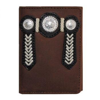 Wallet, Solid Leather, Short Style, Tri-fold, Silver Conchos and Zip, Brown