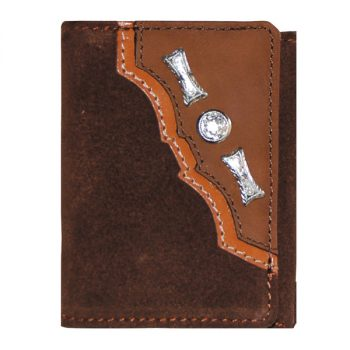 Wallet, Solid Leather, Short Style, Tri-fold, Silver Conchos, Two Tone