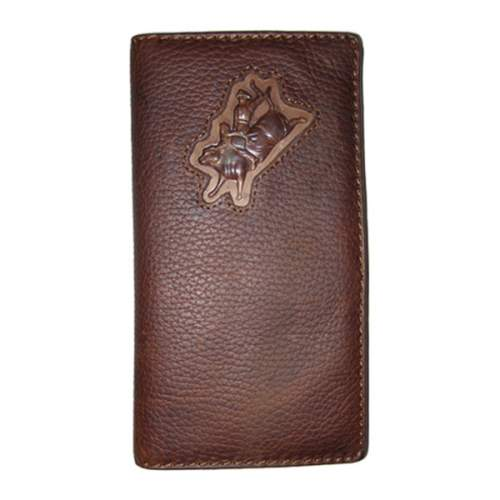 Wallet, Solid Leather, Tall Style, Bull Rider, Brown