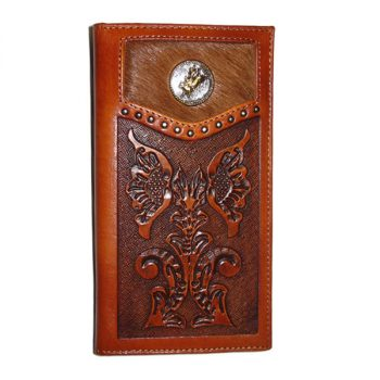 Wallet, Solid Leather, Tall Style, Tan, Bull Rider Concho, Carved