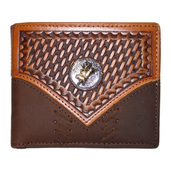 Wallet, Solid Leather, Short Style, Bi-fold, Stitch Bull Rider Concho, Brown/Tan