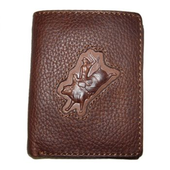 Wallet, Solid Leather, Short Style, Bi-fold, Bull Rider with Zip, Brown