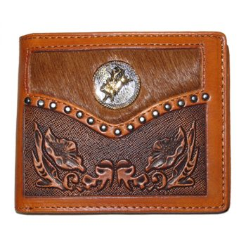 Wallet, Solid Leather, Short Style, Bi-fold, Bull Rider Concho, Carved, Tan
