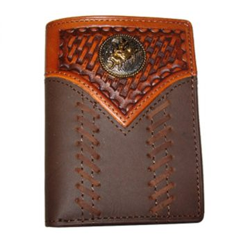 Wallet, Solid Leather, Short Style, Tri-fold, Stitch Bull Rider Concho, Brown/Tan