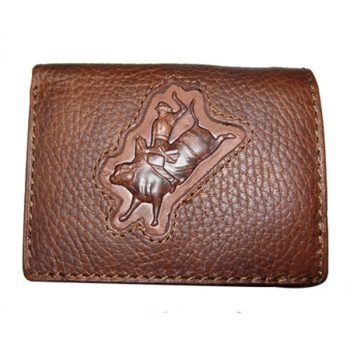 Wallet, Solid Leather, Short Style, Tri-fold, Bull Rider with Zip, Brown