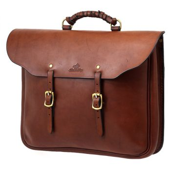 Solid Leather Station Briefcase with buckles and handle