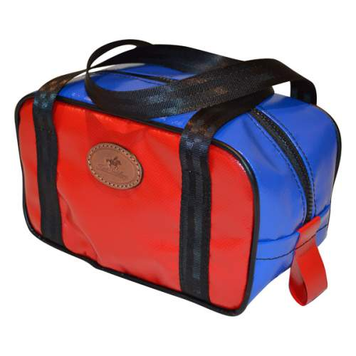 Vinyl Toiletry Bag, Blue Top and Red Sides