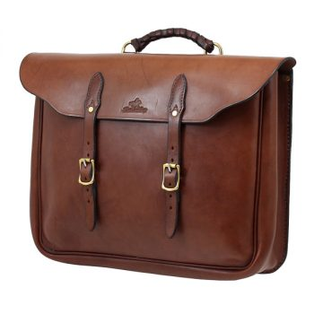 Station Manager's Briefcase, Solid Leather, with Brass Buckles and Handle