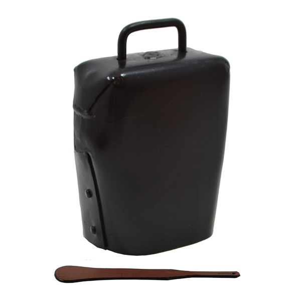 Condamine Cow Bell, with Leather Ringer - Black