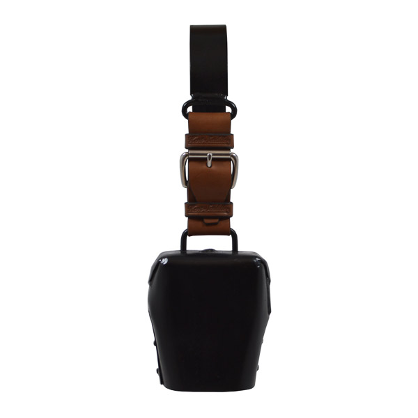 Condamine Cow Bell, with Leather Ringer, Leather Strap and Metal Hanger - Black