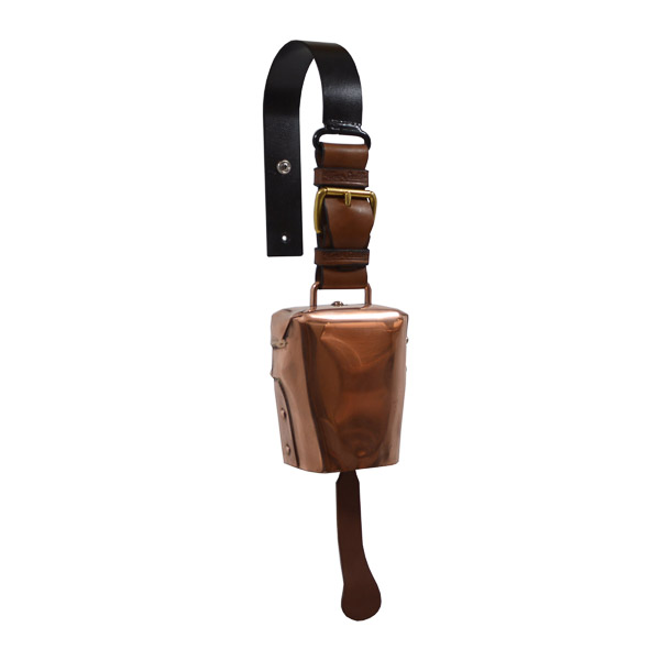 Condamine Cow Bell, with Leather Ringer, Leather Strap and Metal Hanger - Copper