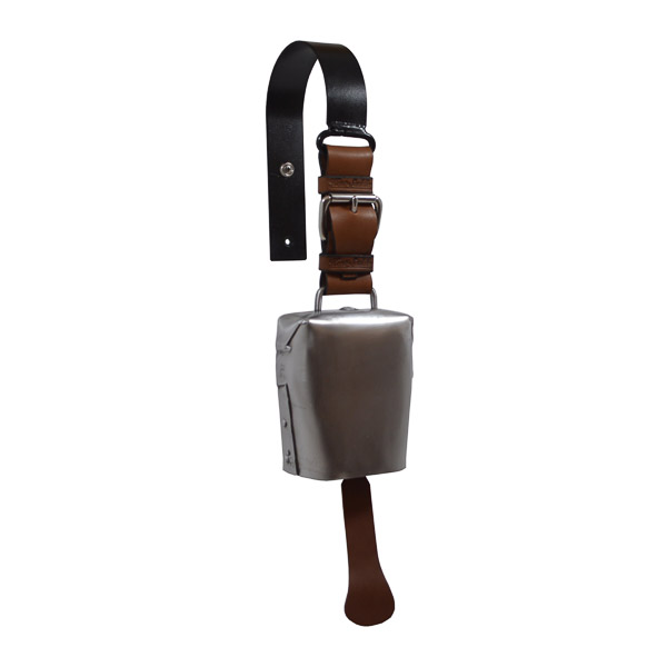 Condamine Cow Bell, with Leather Ringer, Leather Strap and Metal Hanger - Off Anvil