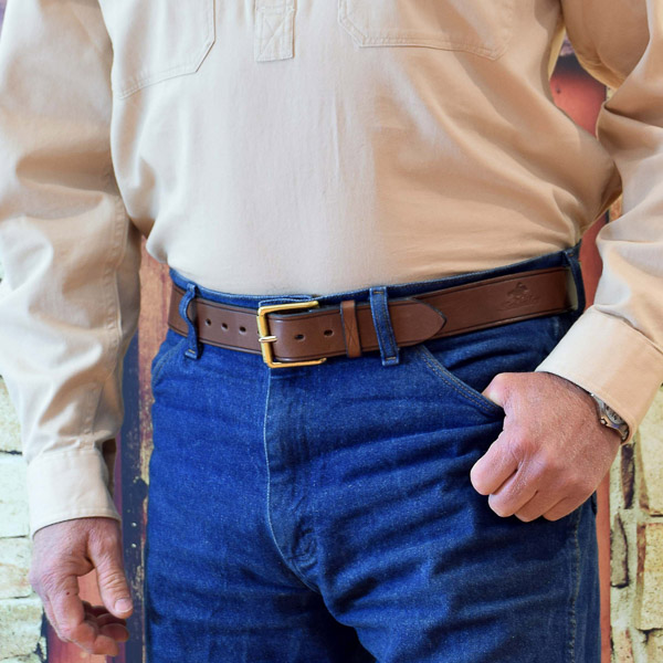 """1 1/2"""" (38mm) Stockmans Belt, Solid Leather, with Brass Roller Buckle - Plain - Worn"""