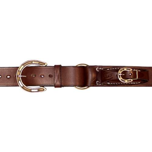 "1 1/2"" (38mm) Stockmans Belt, Solid Leather, with Brass Horseshoe Buckle and Ring and Pouch for Pocket Knife"