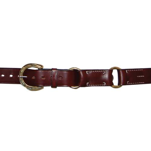 "1 1/2"" (38mm) Stockmans Hobble Style Belt, Solid Leather, 2 Rings, Brass Horseshoe Buckle"