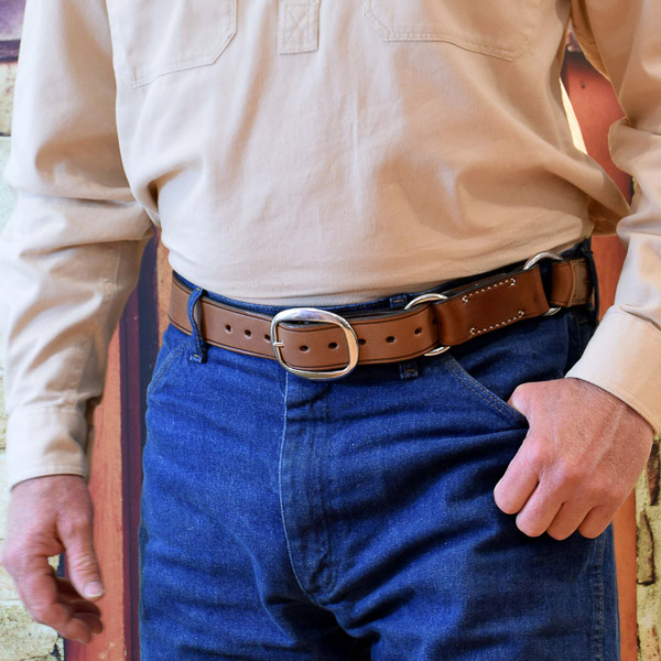 """1 1/2"""" (38mm) Stockmans Hobble Style Belt, Solid Leather, 2 Rings, SS Swage Buckle - Worn"""