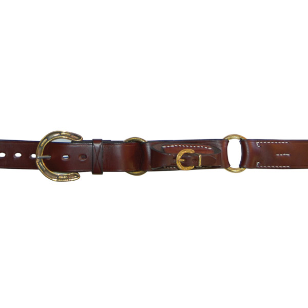 "1 1/2"" (38mm) Stockmans Hobble Style Belt, Solid Leather, 2 Rings, with Brass Horseshoe Buckle and Pouch for Pocket Knife"