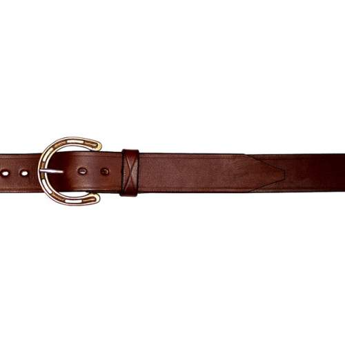 "1 1/4"" (32mm) Stockmans Belt, Solid Leather, with Brass Horseshoe Buckle - Plain"