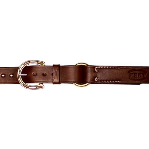 "1 1/4"" (32mm) Stockmans Belt, Solid Leather, with Brass Horseshoe Buckle and Ring"