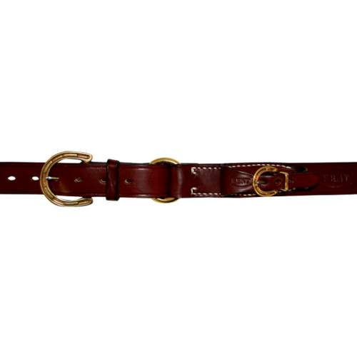 "1 1/4"" (32mm) Stockmans Belt, Solid Leather, with Brass Horseshoe Buckle, Ring and Pouch for Pocket Knife"