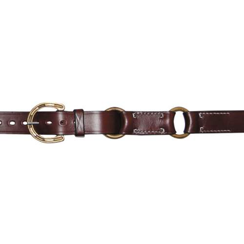 "1 1/4"" (32mm) Stockmans Hobble Style Belt, Solid Leather, 2 Rings, with Brass Horseshoe Buckle"