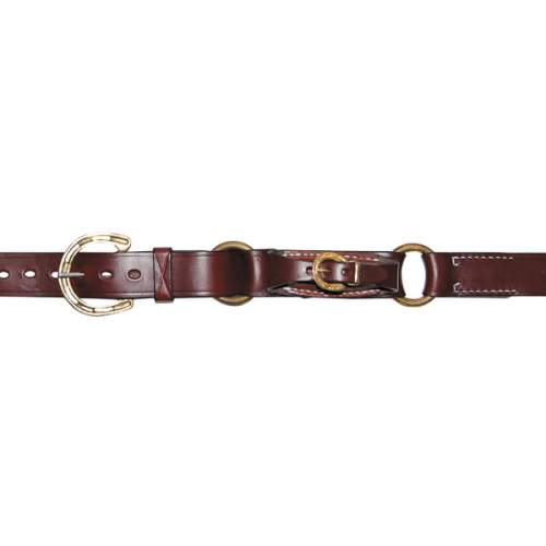"1 1/4"" (32mm) Stockmans Hobble Style Belt, Solid Leather, 2 Rings, Brass Horseshoe Buckle and Pouch for Pocket Knife"