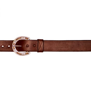 """1"""" (25mm) Leather Belt with Brass Horseshoe Buckle and Ring"""