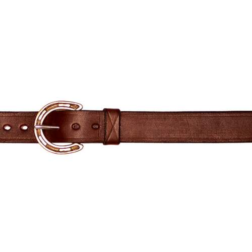 "1"" (25mm) Leather Belt with Brass Horseshoe Buckle and Ring"