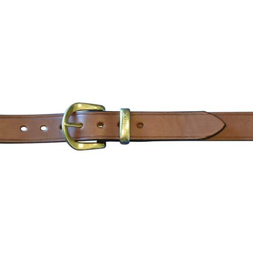 "Dress Belt, 1 1/4"" (32mm) Brown Leather, with English Style Brass Buckle and Kent Keeper"