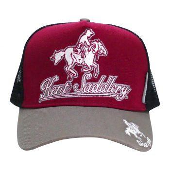 Cap, Kent Saddlery, Grey/Maroon